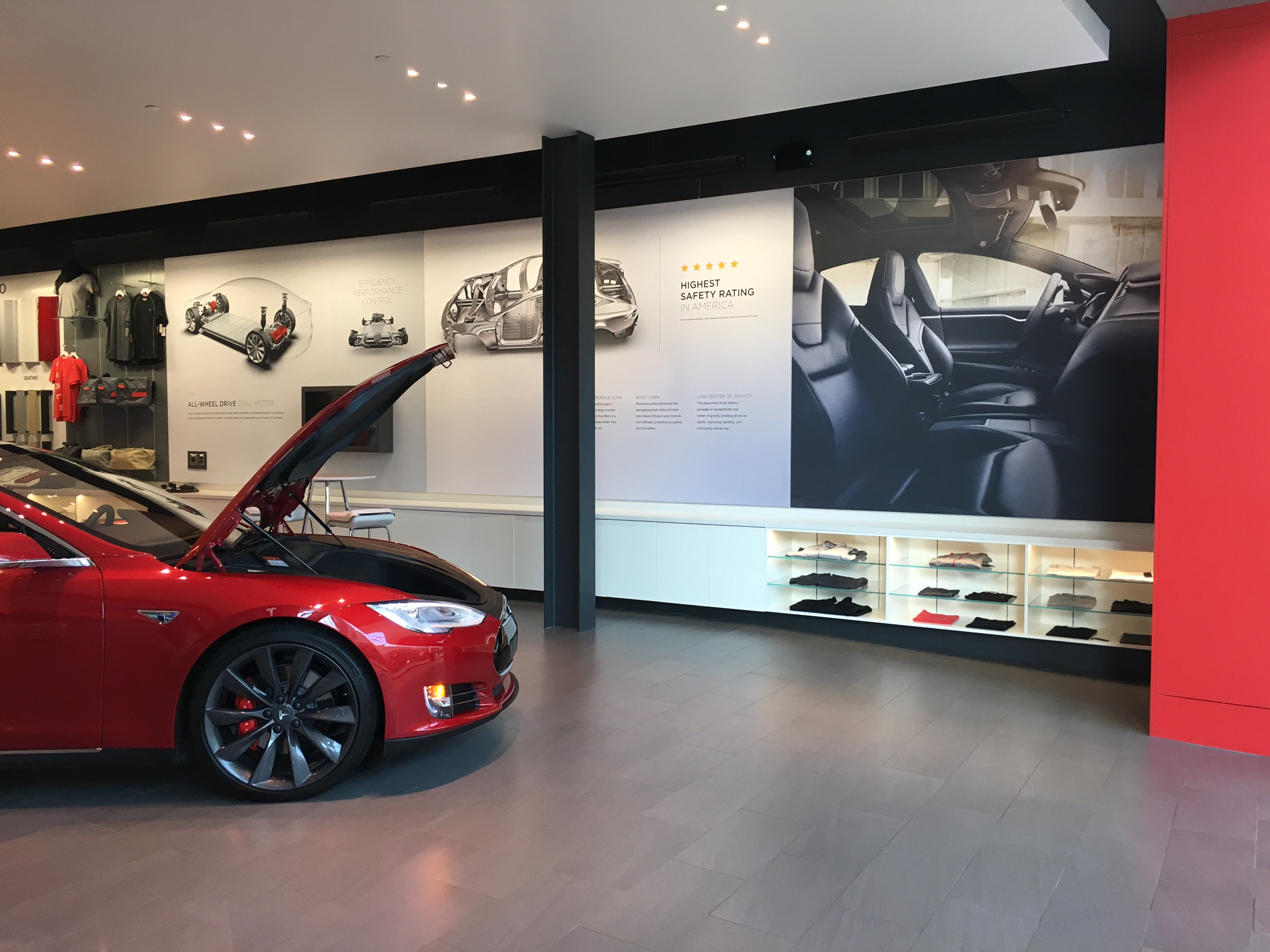Framed SEG Fabric Signage Display Tesla Car Dealership
